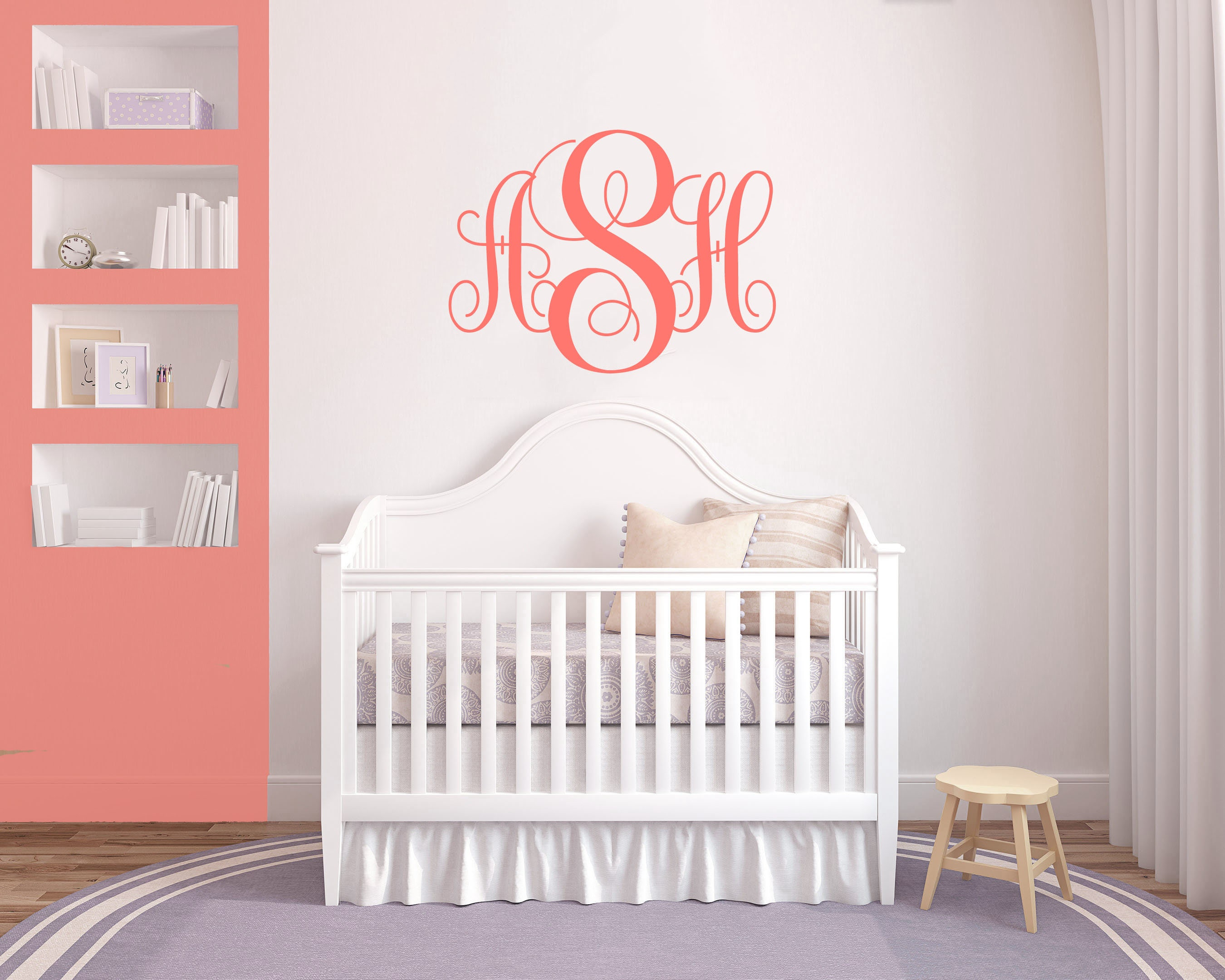 Coral Monogram Wall Decal How to make vinyl decals with
