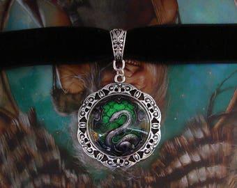 Salazar Slytherin Necklace - Choker - Black Velvet - Harry Potter - Severus Snape - Malfoy - Snake - Hogwarts - School of Witchcraft