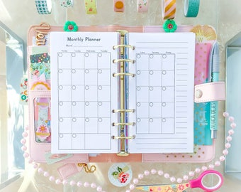 MONTHLY Planner Personal Size Inserts (3.7x6.7 inches). Printable pdf Filofax Medium Organizer Inserts and To Do Calendar. Instant Download.