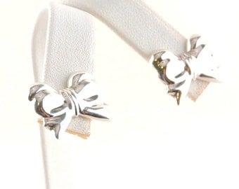 Sterling Silver Bow Stud Earrings