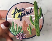 Free Spirit Scenic Desert Patch - Cactus - Sun - Wanderlust - Iron On Embroidered Patches - Wildflower + Co. DIY
