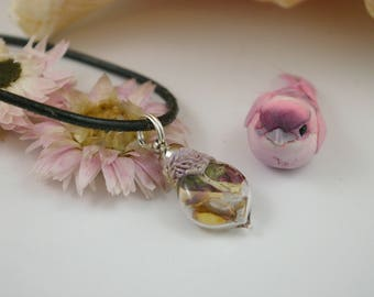 Fairy Pendant necklace, Glass Vial with herbs gem correspondence for working with fairy magick, attraction herbs gems, Litha Beltane charm