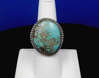 Vintage Handmade Navajo MARTHA SMILEY Kingman Turquoise Sterling Silver Ring – Size 7.5