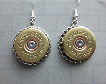 Shotgun .12 bore Cartridge silver colour earrings