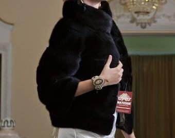 Mink fur jacket coat in black