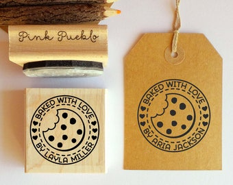 Personalized Baked with Love Rubber Stamp, Cookie Stamp For Baking Gifts or Baked Goods Labels