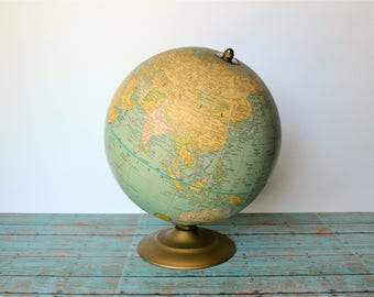 "Vintage 9"" George F. Cram, Co. Terrestrial Globe On Gold Metal Stand / 1970s"