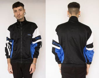 TRACK JACKET -blue, black, white, color block, sportswear, vaporwave, fila, nike, kappa, 90s, activewear, aesthetic, hip hop, unisex-