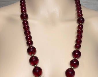 Vintage Red Lucite Bead Necklace 24""