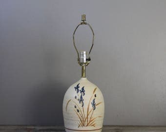 Vintage ceramic lamp with irises