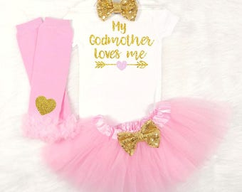 godmother outfit godmother shirt my god mother loves me goddaughter outfit goddaughter shirt baby shower gift pink and gold baby girl outfit