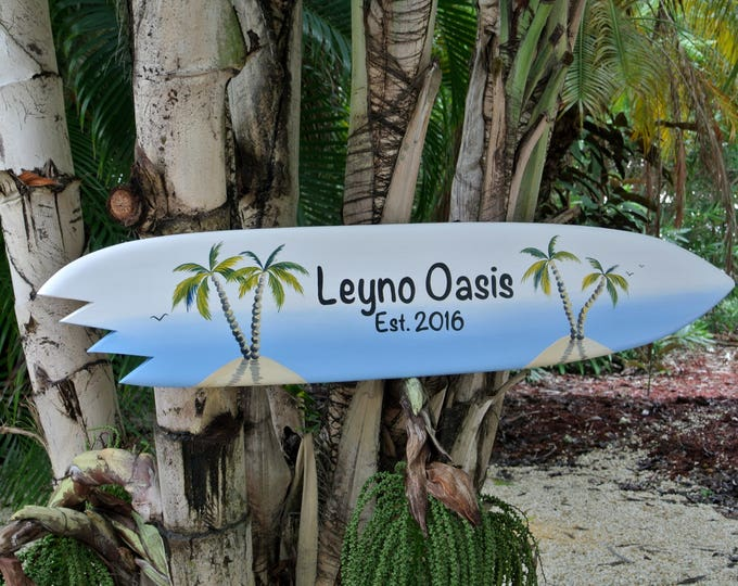 Valentines gift. Family name sign. Wood tiki bar decor. Housewarming gift idea. Beach house pool deck sign.