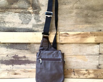 90s Small Backpack Brown Leather Crossbody Mini Bag Purse
