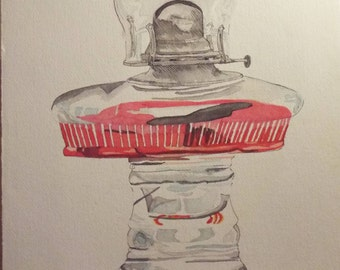 "0il lamp  11 "" x14"" watercolor pen and ink"