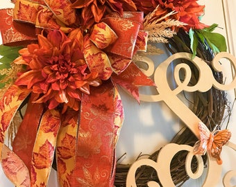 Fall/Autumn Wreath with Beautiful Orange Dahlia Flowers, Butterflies, Pumpkins & Flowing Fall Bow, Monogram Fall Wreath