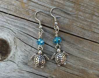 Sea Turtle with Blue Bead Earrings, Wire Wrapped Earrings, Beach earrings, Sea earrings, Turtle earrings, Gifts for her, Wire Wrapped Turtle