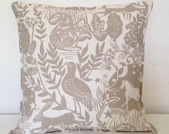 Cushion Cover, Taupe Wildlife Cushion Cover, Pillow Case, Scatter Pillow, Scatter Cushion, Contemporary Cushion, Wildlife, Woodland Animals