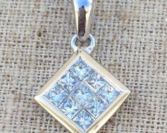 SALE! 14K White Gold 0.95 Princess Cut Diamond Necklace
