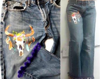 Boho Distressed Levis Red Tab boyfriend Jeans, boho Chic Jeans, pom pom trim