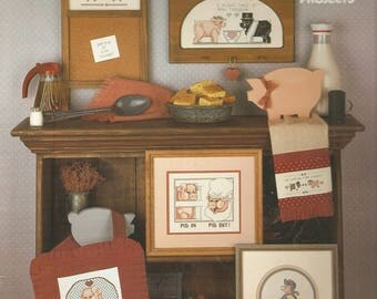 Vintage Counted CROSS STITCH Pattern Book - This Little Piggy - Pigs