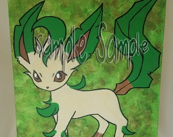 Made to order Leafeon painting [with glow in the dark skeleton]