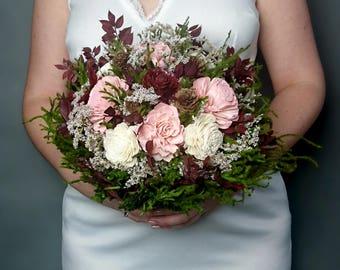 Big rustic wedding BOUQUET ivory burgundy wine blush dusty pink green brown Sola Flower dried flowers cypress cones cedar rose Burlap Lace