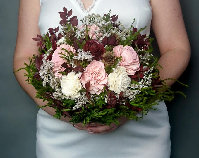 Big rustic wedding BOUQUET ivory burgundy wine blush dusty pink green brown Sola Flower dried flowers cypress cones cedar rose Burlap Lace
