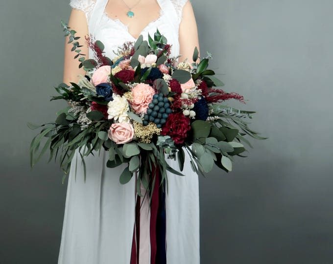 Boho wedding bouquet in shades of wine, blush pink and navy with preserved eucalyptus