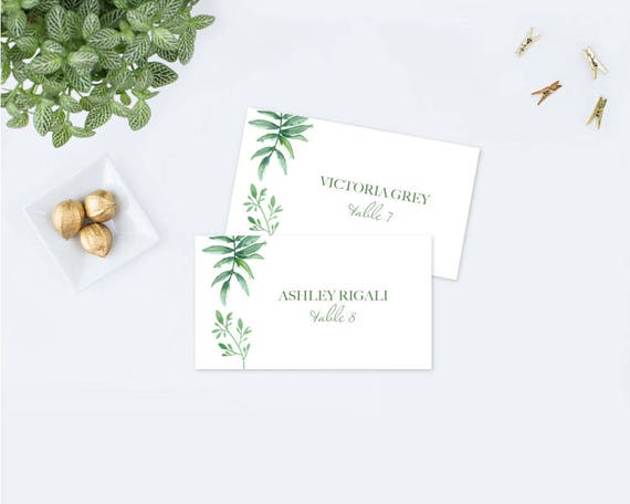 Editable Text Greenery Place Card Template, Greenery Wedding, Escort ...