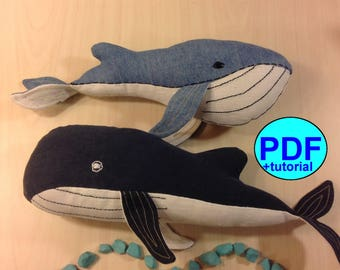 Set two different whales pattern whale sewing pattern tutorial toy sewing pattern stuff animals pattern Humpback whale PDF soft toy pattern