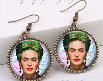 Frida Kahlo Earrings , Frida Kahlo Necklace, Photo image Jewelry, one inch drop Earrings, Women Artist, Art, Black Cat, Frida Kahlo Gift