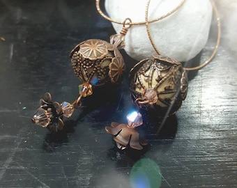 Vintage Style Earrings - Flower Filigree earrings -  Swarovski crystal - Copper