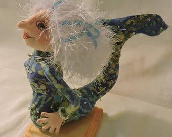 Cloth Art Doll, OOAK, Mermaid