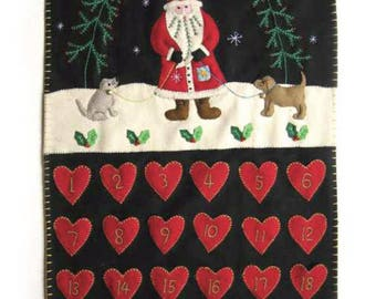 Santa with Best Friend Puppy Dogs Christmas Wool Felted Appliqued Advent Calendar