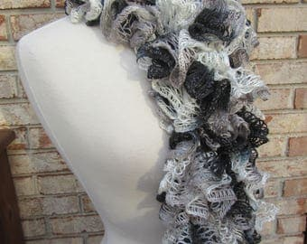 Black and white ruffle scarf