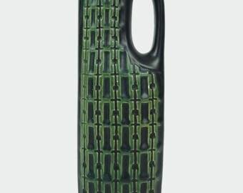 Mid Century Pottery Ceramic Art Vase Black Green Designer Stoneware MCM MOD Modern Decor