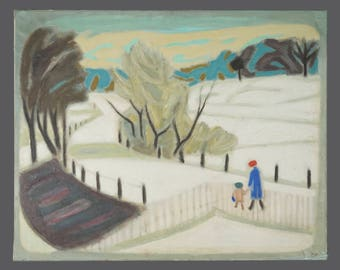1964 Bryan Senior Oil Painting Signed Art Mid Century MCM MOD Modern Decor