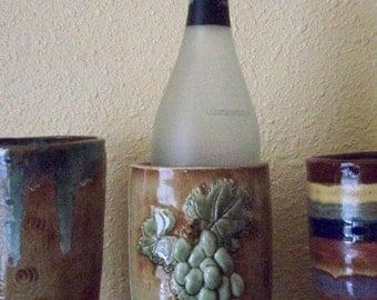 Ceramic Wine Chiller Utensil Holder Bas Relief Grapes Beige Tan Green Grapes Leaves Handmade Wine Lovers