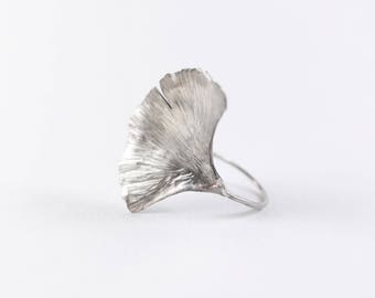 Ginkgo Leaf Jewelry | Botanical Ring | Leaf Ring | Nature Ring | Plant Ring | Sterling Leaf Ring | Botanical Band | Nature Inspired Ring
