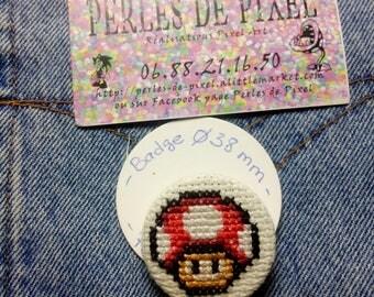 Mario mushroom motif hand embroidered badge