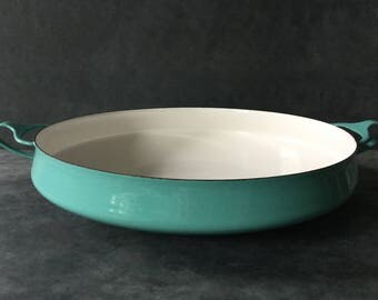 VINTAGE Turquoise Dansk Kobenstyle IHQ Paella Pan + Buffet Bowl + Round Casserole - Excellent Condition - Jens Quistgaard - Enamel on Steel