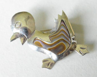 Vintage Sterling Silver Taxco Mexico Abalone Duck Pin