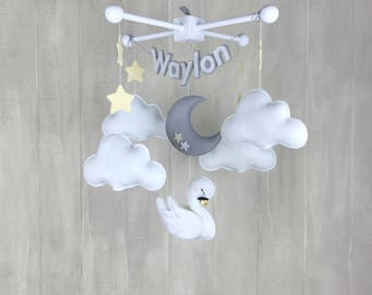 Baby mobile - swan mobile - felt name mobile - cloud mobile - baby crib mobile - baby name mobile - gender neutral