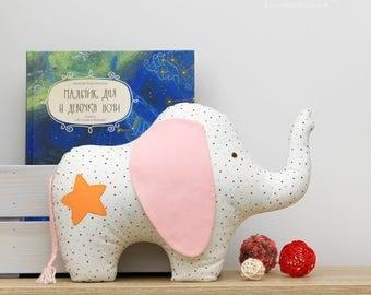Baby Elephant Pillow, Elephant Pillow, Stuffed Elephant, Elephant Cushion, Elephant toy, Baby Elephant Toy, Elephant Nursery, Elephant Decor