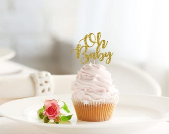 OH BABY glitter cupcake topper set of 12 - baby shower / party decoration