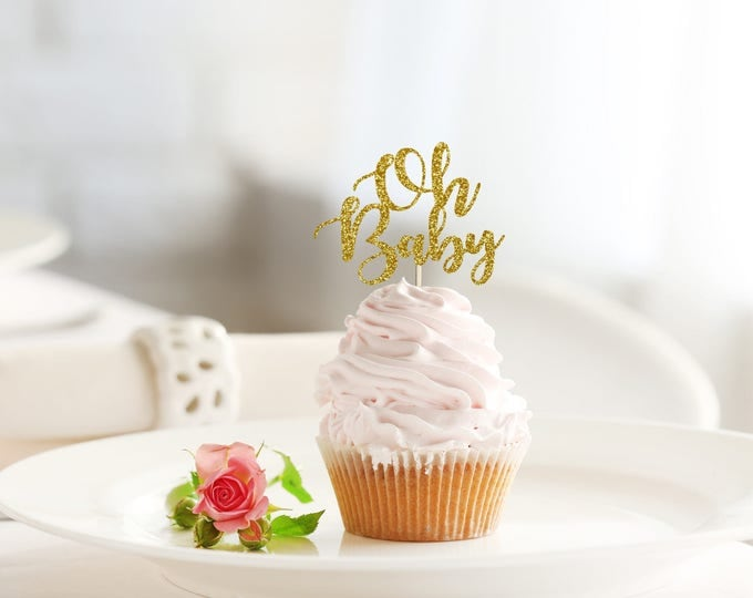 Featured listing image: OH BABY glitter cupcake topper set of 12 - baby shower / party decoration