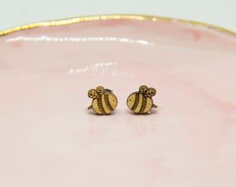 Wooden Bee Earrings - Stud Earrings - Gifts for Girls - Lasercut Earrings.