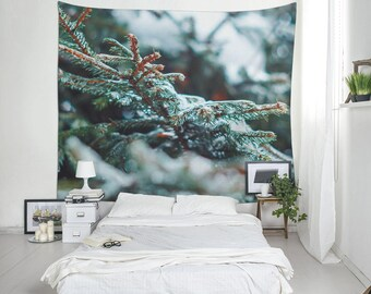 Pine Leaf Tapestry, Winter Forest Art Print, Winter Image, Photography Tapestry, Home Wall Decor, Room Decoration, Large Wall Art