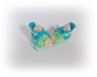 Green blue Baby sneakers Crochet sneaker Baby Converse Baby boy girl boots  Newborn sneaker baby shoes Blue green shoes boy girl's sneaker