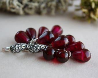 Lampwork Pomegranate earrings, Lampwork Garnet Earrings, Glass beads, Glass Ruby Earrings, Lampwork jewelry, Berries jewelry